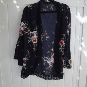 Boho Floral Navy Blue w/lace edging